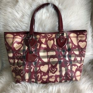 💯% Authentic Burberry Heart Check PVC Canvas Tote